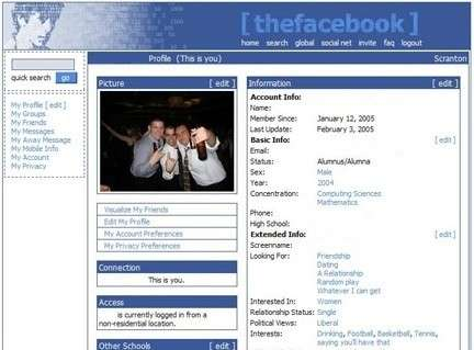 First version of Facebook