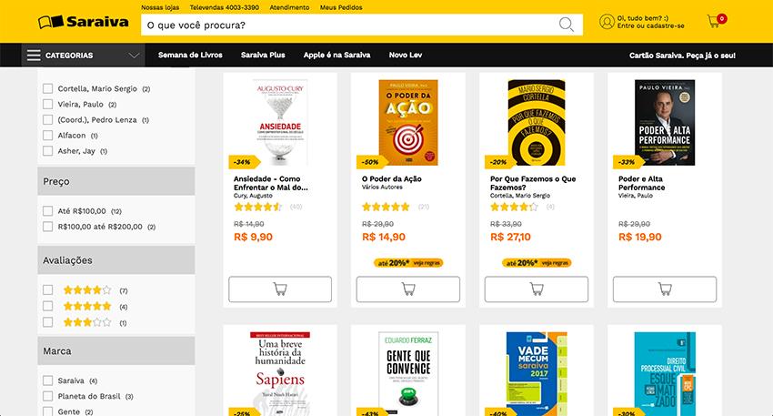 Livros mais vendidos da Livraria Saraiva