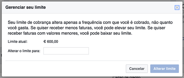 Alterar limite de faturação do Facebook