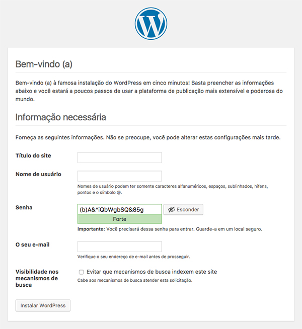 Creating a blog - Installing WordPress