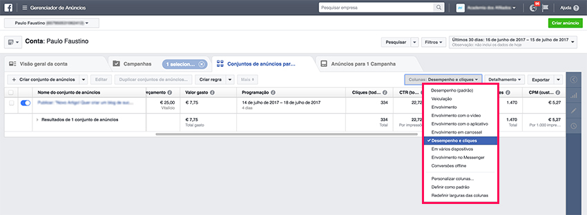 Advertise on Facebook - Performance and Clicks