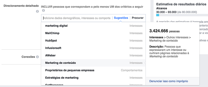 Facebook Ads - Interesses do público