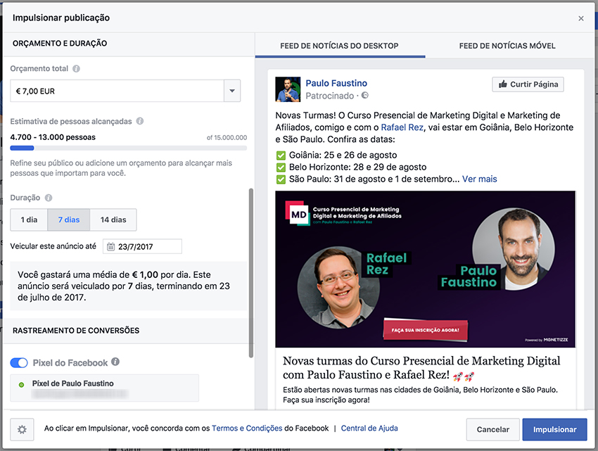 Facebook Ads - Impulsionando um post no Facebook