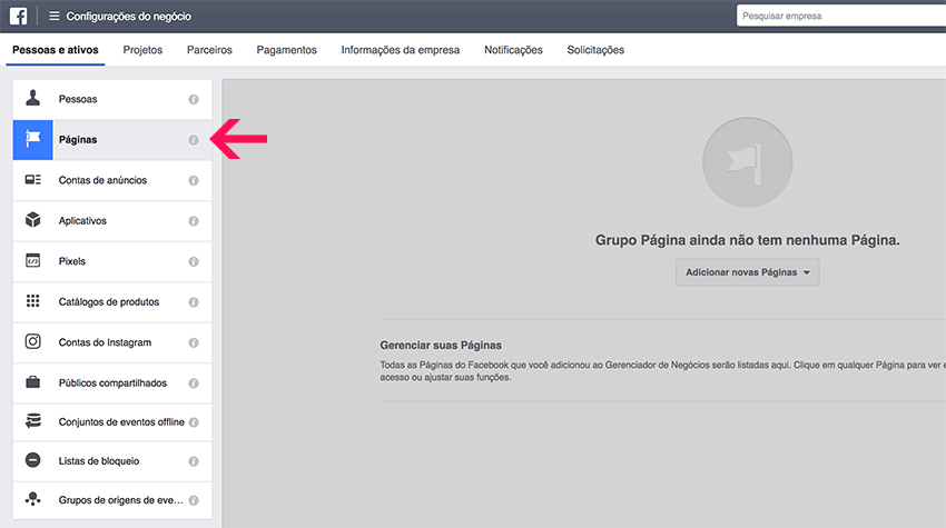 Reclamar página de Facebook no Business Manager