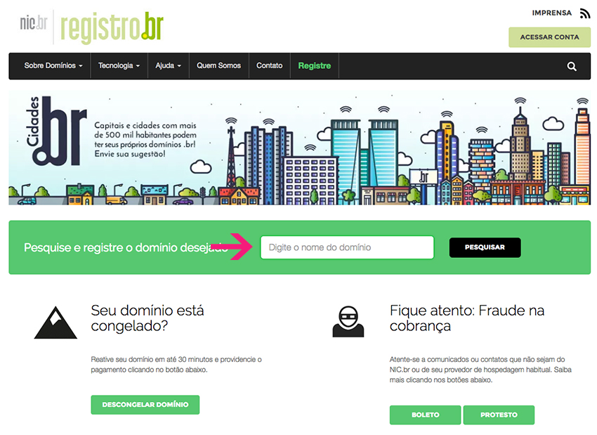 Domain register Registro.br