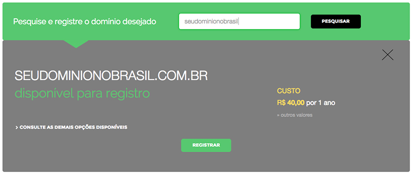 Domain register in Brazil