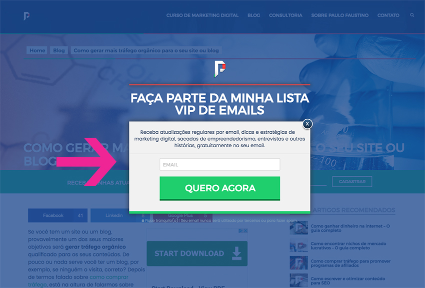 Subscrever lista de emails com pop-up
