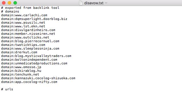 Negar links com ficheiro Disavow TXT