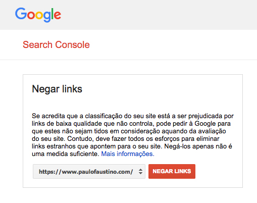 Negar links via Search Console