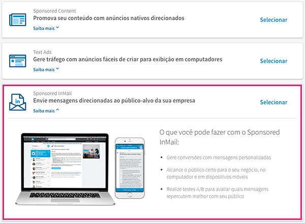 Anúncios Inmail no LinkedIn Ads
