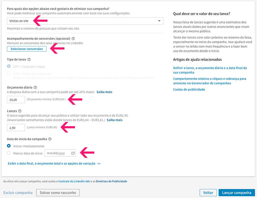 Configuração de custos de anúncio no LinkedIn Ads