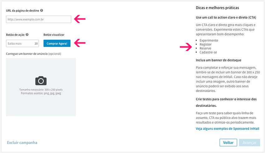 Configuração de página de destino