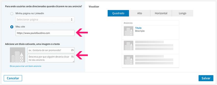 Configurar anúncio de texto no LinkedIn Ads