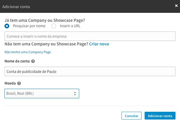 Criar conta de anúncios no LinkedIn Ads