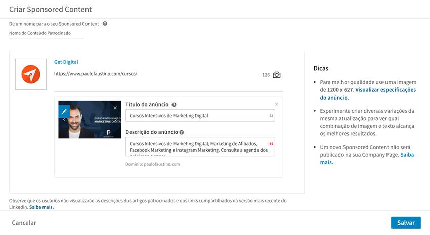 Criar conteúdo patrocinado no LinkedIn Ads
