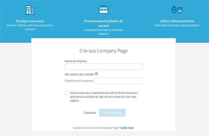 Criar página de empresa no LinkedIn