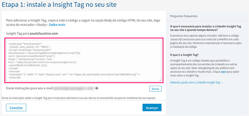 Instalar código de rastreamento do LinkedIn Ads