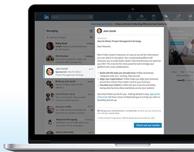 Mensagens patrocinadas pelo LinkedIn Ads