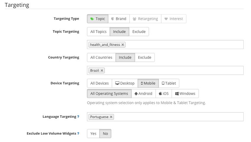 Native Ads - Configuração de segmentação