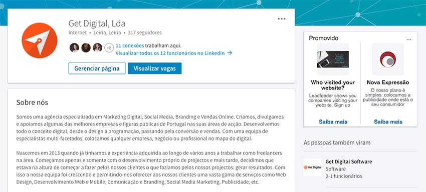 Página de empresa no LinkedIn