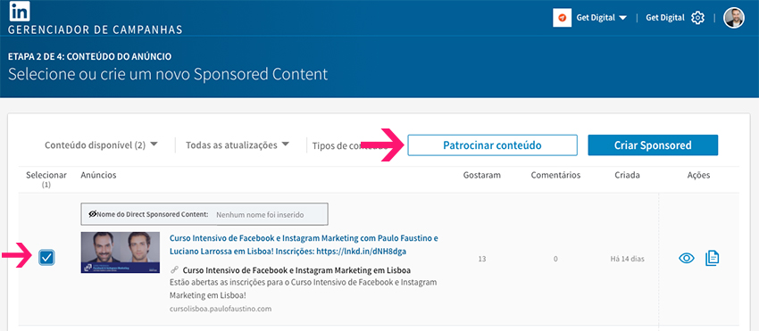 Patrocinar conteúdo no LinkedIn Ads