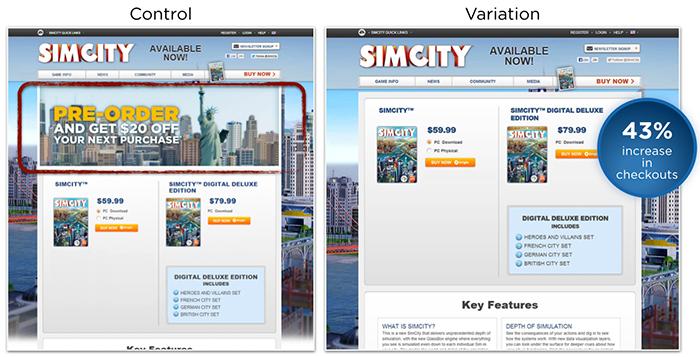 Simcity teste A/B - Landing Pages