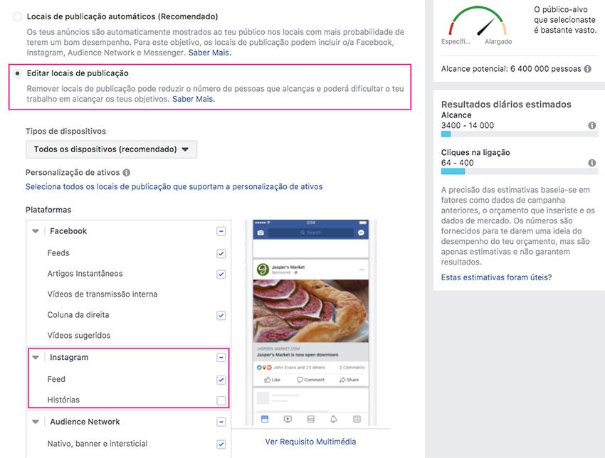 Criar anúncio no Instagram via Facebook