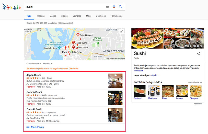 Google Meu Negócio - Busca por sushi