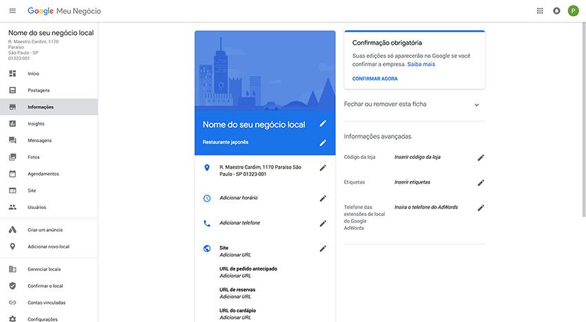 Google Meu Negócio - Configuração do negócio