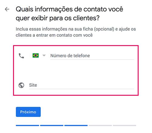 Google Meu Negócio - Contatos da empresa