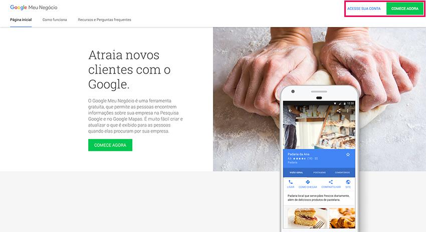 Google Meu Negócio - Criar conta