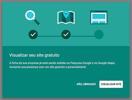 Google Meu Negócio - Criar site