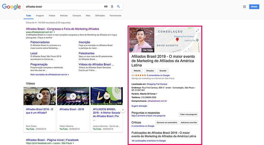 Google Meu Negócio - Resultado de pesquisa orgânica