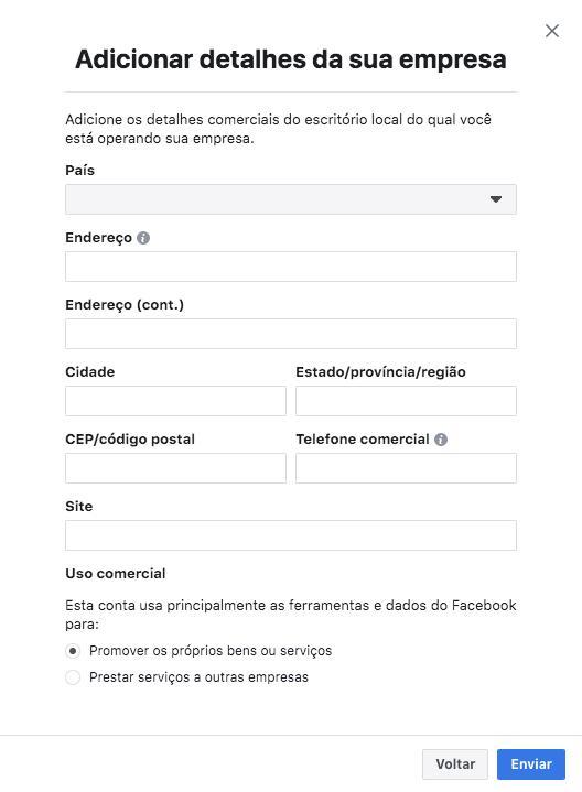 Adicionar detalhes da empresa no gerenciador de negócios do Facebook