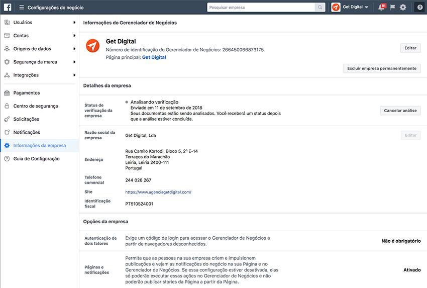 Configurações do negócio no Facebook