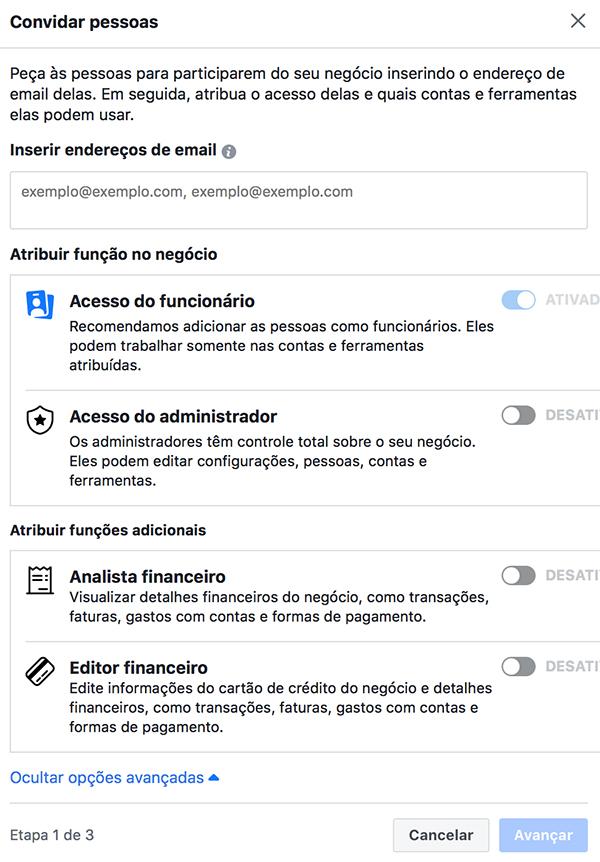 Convidar pessoas para o Business Manager do Facebook