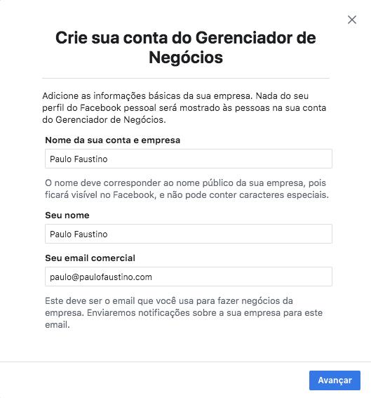 Criar conta no gerenciador de negócios do Facebook