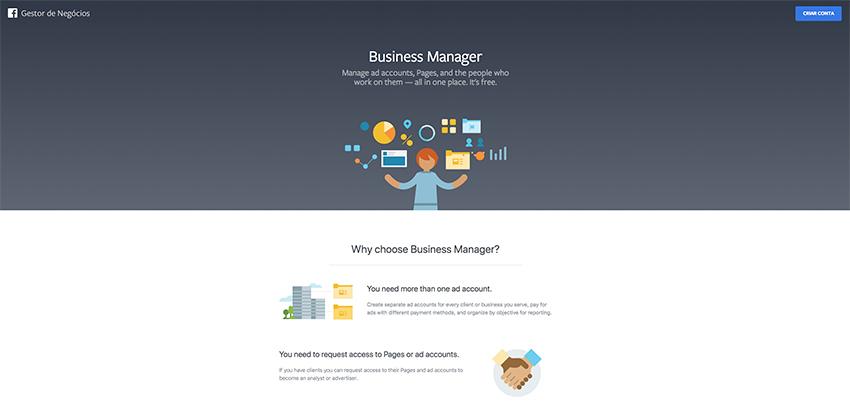 Gerenciador de negócios do Facebook (Business Manager)