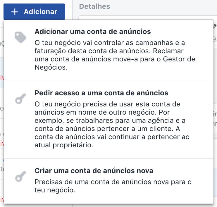 Adicionar conta de anúncios ao gerenciador de negócios do Facebook