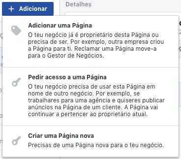 Adicionar páginas no gerenciador de negócios do Facebook