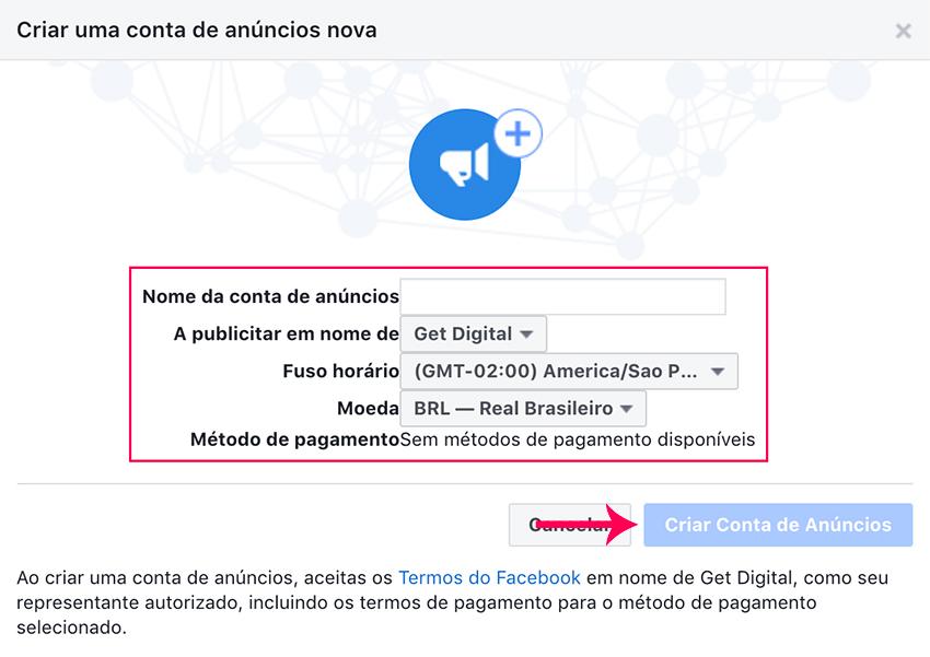 Criar nova conta de anúncios do Facebook