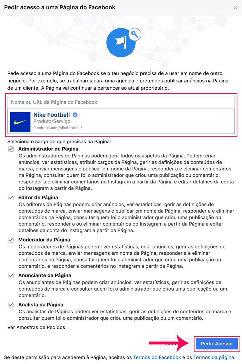 Enviar pedido de acesso a página de Facebook