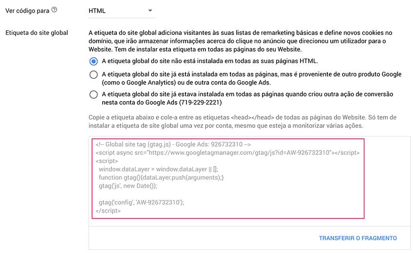 Código de acompanhamento em Google Ads