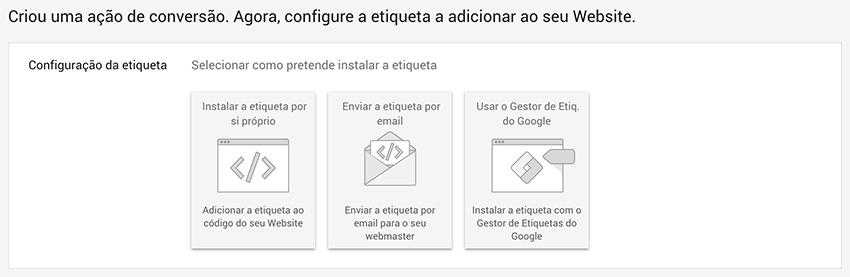 Configuração de etiqueta em Google Ads