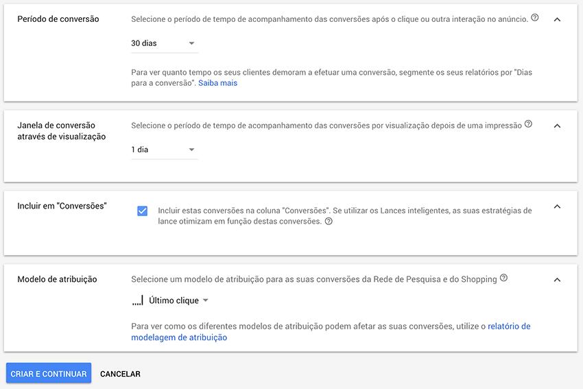 Configuração de conversões personalizadas em Google Ads