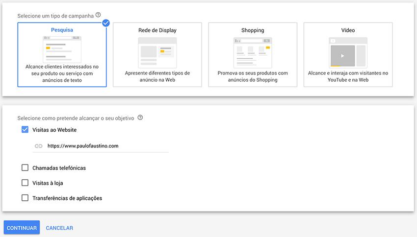 Criar campanha de visitas ao site no Google Ads
