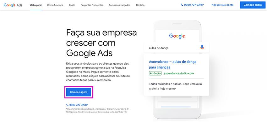 Criar uma conta no Google Ads