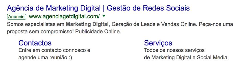Extensão de sitelink no Google Ads