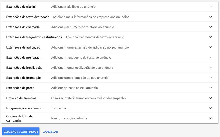 Extensões de anúncios em Google Ads