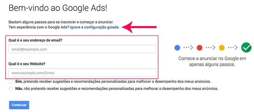 Registro no Google Ads